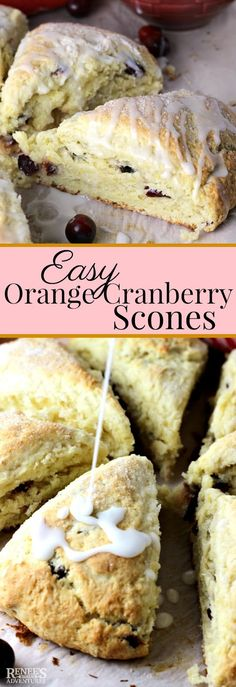 Easy Orange Cranberry Scones are tender, sweet biscuit like dough studded with orange flavored dried cranberries and covered in an orange glaze. Perfect for breakfast or snack.