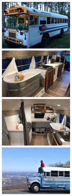 """Living in a school conversion seems to be an up and coming trend, with school bus tiny homes being called a """"skoolie."""" But it's not always easy living in a school bus camper. Check out these amazing school bus conversions to learn more. Airstream, School Bus Conversion, Camper Conversion, Kombi Trailer, School Bus Tiny House, School Buses, Old School Bus, Bus Remodel, Trailer Remodel"""
