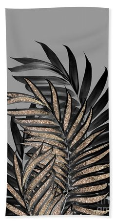 Gray Black Palm Leaves with Gold Glitter Beach Towel for Sale by Anitas and Bellas Art Marble Wallpaper Phone, Watch Wallpaper, Iphone Background Wallpaper, Glitter Wallpaper, Flower Wallpaper, Pattern Wallpaper, Nike Wallpaper Iphone, Gold Background, Black And Gold Aesthetic