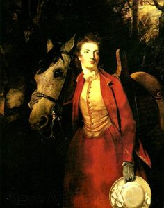 "Portrait of Lady Charles Spencer circa 1775 by Joshua Renyolds. Location: Private Collection. ""Unusual for a portrait of a woman, Mary is painted with her horse. She wears a striking, red, riding habit cut in the manner of a man's frock coat—with a waistcoat fastened in the masculine way from left to right."" -What Jane Saw"
