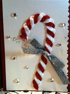 Candy cane card made out of rick rack ribbon ::inspired by Martha Stewart::