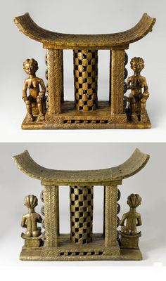 Africa | Stool from the Asante people of Ghana | Wood covered in sheet metal.