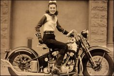 1940's stunt rider Dot Smith poses on her 1939 EL Knucklehead. Dot was a member of the Motor Maids and the San Francisco Motorcycle Club
