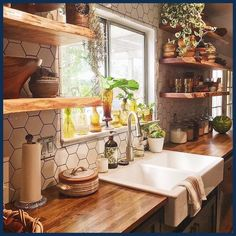 -color scheme -farm house sink -open shelves -butcher block counter tops