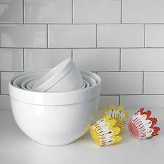 Nesting White Mixing Bowls