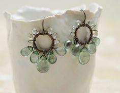 Green quartz oxidized sterling silver flower by CalliopeBridal, $110.00