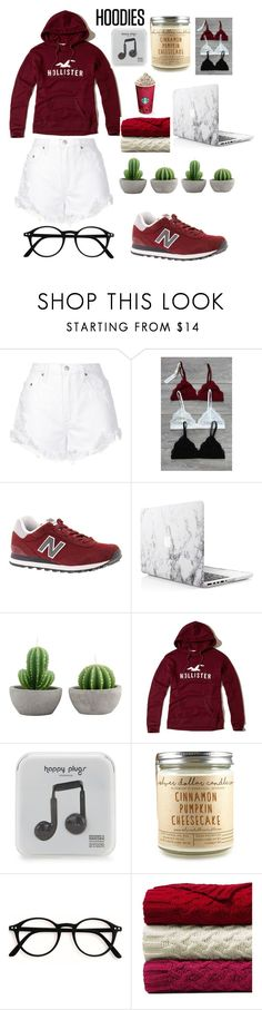 """lazy days🎬"" by fashion-designer-lover on Polyvore featuring Nobody Denim, BeachHeart, New Balance, Hollister Co., Happy Plugs, Lands' End and Hoodies"