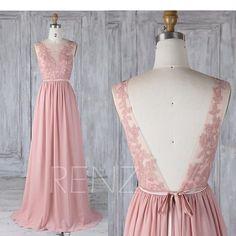 Bridesmaid Dress Dusty RoseChiffon Lace Illusion Wedding