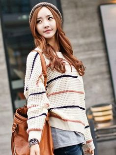 Stripe Knit Jumper | Cute Japanese Fashion- Eriko would so wear this! I think it'd look cute!