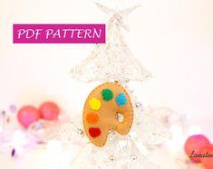 PDF ornamento di Natale, tavolozza pittore, regalo per albero di Natale fatto a mano, istruzioni con foto fai da te decorazioni cartamodello