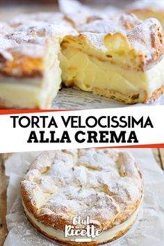 Quick Cream Puff Pie - Food and Drink Cake Filling Recipes, Puff Pastry Recipes, Dessert Recipes, Italian Cake, Italian Desserts, Italian Recipes, Quick Cake, Italian Pastries, Savoury Cake