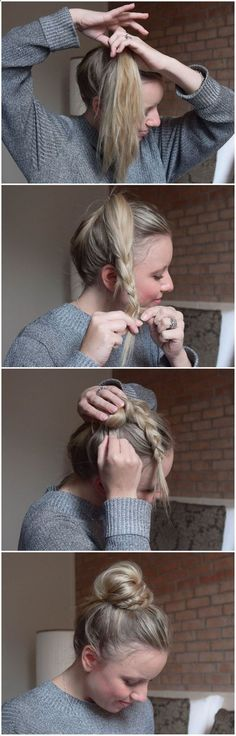 BRUN: Half Braid, Half Bun – Halb Dutt, Halb Geflochten BRUN – helped braid, helped bun … so fast and easy can imitate the sweet Dutt each. Step-by-step instructions-braided hair-hair braiding-hairstyle-hairstyle-practical hairstyle for everyday life Cute Simple Hairstyles, Pretty Hairstyles, Braided Hairstyles, Hairstyle Ideas, Hairstyle Tutorials, Easy Hairstyle, School Hairstyles, Step By Step Hairstyles, Messy Bun Tutorials