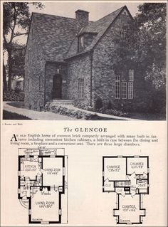Glencoe House Plan - American Residential Architecture - 1929 Home Builders Catalog - Clinker Brick English House Style