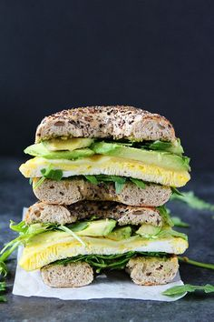 This easy Egg, Avocado, and Pesto Bagel Sandwich with Havarti cheese and arugula makes a great breakfast or lunch!