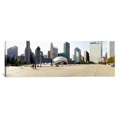 "East Urban Home Panoramic Buildings in a City, Millennium Park, Chicago, Illinois Photographic Print on Canvas Size: 30"" H x 90"" W x 1.5"" D"