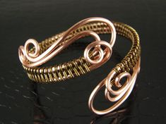 Copper Swan & Bronze Wire Weave Bracelet, Bangle, Cuff Bracelet