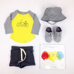 #ootd featuring the new yellow bike print ball tee, Bermuda shorts, classic sun hat and spring #toms shoes