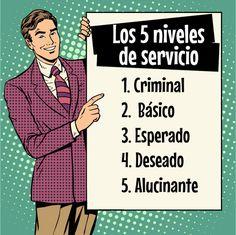 Los 5 niveles de servicio y la consecuente reacción del cliente