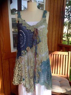 Luv Lucy Crochet Dress tunic Blue Moon Garden by LuvLucyArtToWear