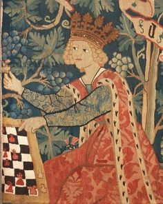 Queen Playing Chess, detail of 15th century German tapestry, manufacture of the Upper Rhine, 1460-70