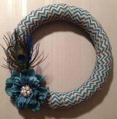 Peacock Chevron Burlap Wreath