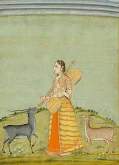 Todi Ragini: A lone woman with a Vina feeds a black buck. The musical raga is in the morning, tender and loving. N, India late 18th C.