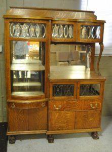 Antique-Quarter-Sawn-Oak-China-Buffet-Cabinet-with-Beveled-Glass-Circa-1910