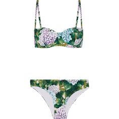 Dolce & Gabbana Floral-print bikini ($520) ❤ liked on Polyvore featuring swimwear, bikinis, forest green, underwire bikini swimwear, underwire bra, underwire swimwear, bikini swimwear and tan bikini
