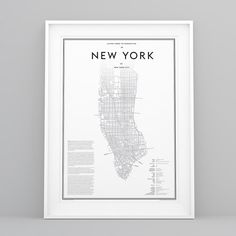 Guide to New York, Manhattan in New York City. Black on white. High quality JPG download. Dimensions 50cm x 70cm / 19.6 x 27.5 / 250dpi.