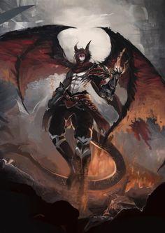 school assignment by yuki XW on ArtStation. Fantasy Art Men, Fantasy Concept Art, Fantasy Races, Fantasy Dragon, Fantasy Warrior, Fantasy Character Design, Character Design Inspiration, Character Art, Demon Art