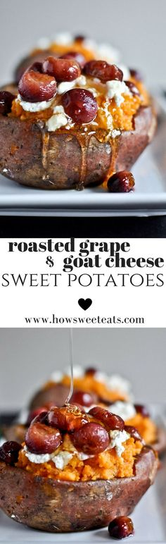 Roasted Grape, Goat Cheese and Honey Stuffed Sweet Potatoes I howsweeteats.com @howsweeteats