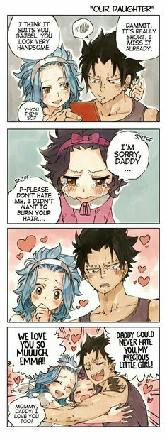 This is so adorable!!! Credit to Rboz Emma Redfox, Gajeel x Levy, Redfox family, Gajevy