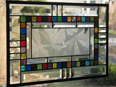 Sycamore and Bevels Stained Glass Window Panel. $95.00, via Etsy.