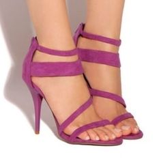 """NWT Plum Strappy Sandal 4"""" Heel by Shu Shop Strappy heel sandals, featuring zipper in the back for a personal fit.  Heel measures approximately 4"""" Shu Shop Shoes Heels"""