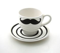 Mustache teacup moustache ONE teacup and saucer by LennyMud, $14.00