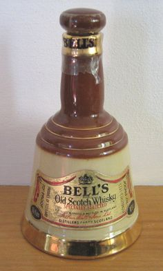 """Wade """"Bell's Scotch Whisky"""" bell-shaped bottle / decanter (empty), 18.9cl size (SOLD) - www.vanishederas.com"""