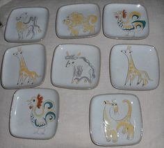 """RARE Glidden Pottery Eight 8 Small Animal Dishes or Coasters 4"""" Square 
