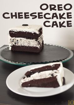 Oreo Cheesecake Cake by Erins Food Files.. OMG look so good but I'd probs throw up after like 2 bites..