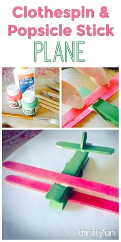 This is a guide about making a clothespin and Popsicle stick plane. Use clip style clothes pins and Popsicle sticks to create a cute little wooden toy plane.