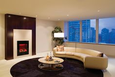 Amantii Built-in/Wall Mounted Electric Fireplace - Modern Blaze - 4 Corner Electric Fireplace, Electric Fireplaces, Decor Interior Design, Interior Decorating, Fireplace Inserts, Fireplace Ideas, Curved Glass, Fireplace Accessories, Simple House