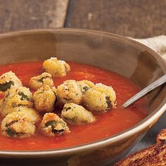 A tastier take on a creamy classic, this recipe takes tomato soup to the next level with fried okra and fresh basil.