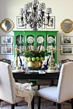 Green and Blue Center Piece