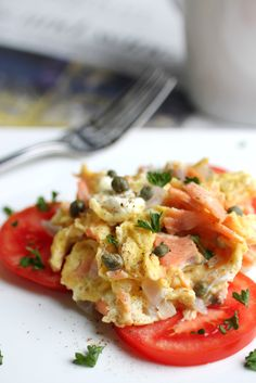 Scrambled Eggs with Lox and Capers