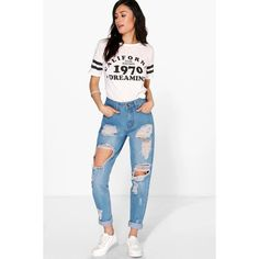 Boohoo Blue Sophie High Wst Light Wash Distress Mom Jeans ($44) ❤ liked on Polyvore featuring jeans, blue, slim straight jeans, high-waisted boyfriend jeans, ripped boyfriend jeans, distressed skinny jeans and high waisted boyfriend jeans
