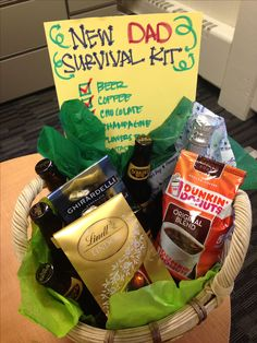 A pinspired New Dad Survival Kit my coworkers and I made. New dads deserve presents too! Baby Gifts For Dad, Gifts For New Dads, Daddy Gifts, Baby Survival Kits, New Dad Survival Kit, Birth Announcement Template, Birth Announcement Girl, Birth Announcements, Hospital Gifts