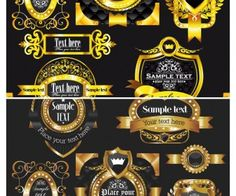 Luxury gold labels vector 2
