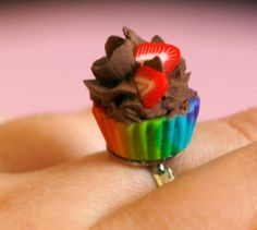 Cupcake ring Polymer clay miniature food kawaii sweet  by Zoozim, $15.00
