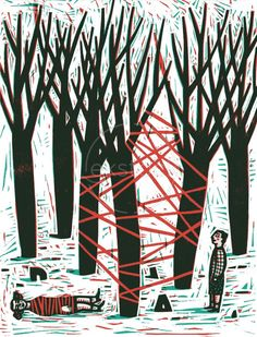 Tying up the Forest ~ Isabelle Vandenabeele is a Belgian illustrator who likes to work with traditional printing techniques like woodcut or linocut.