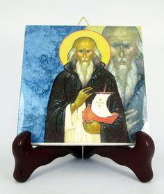 Saint Brendan of Clonfert Ceramic Tile Handmade by TerryTiles2014