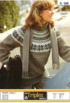 Nancy k 596 Tricot Harry Potter, Knitting Designs, Knitting Patterns, Norwegian Knitting, Icelandic Sweaters, Nordic Design, Vintage Knitting, Knit Crochet, Arts And Crafts